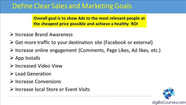 set facebook marketing goals
