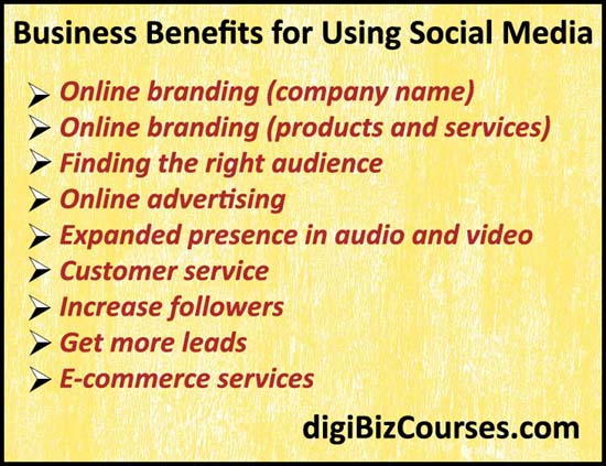 Business benefits for social media